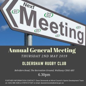 Wirral Sports Forum AGM Meeting advert AGM 2.5.2019